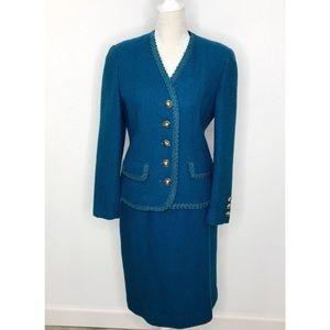 Vintage Herbert Grossman Neiman Marcus Teal Suit